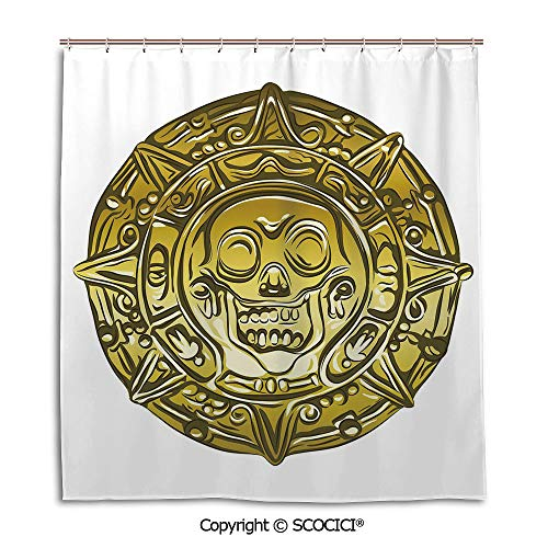 (Creative Bathroom Curtain Separation Door Curtain bath curtain,66X72in,Pirate,Gold Money Pirate Coin Medallion Scary Skull Figure Ancient Antique Currency Print Decorative,Gold White,Used for bathing)