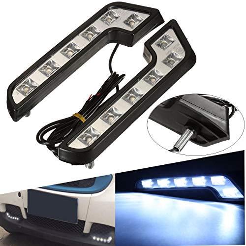 Pair 12V 5W L Shaped White Car VAN Driving Lamp LED Daytime Running Fog - Car Lights Daytime Running Lights -2 X Car Rear Bumper Light]()