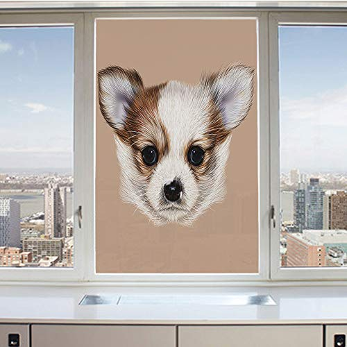 (3D Decorative Privacy Window Films,Puppy Portrait Cute Little Furry Friend Dog Pet Graphic Art,No-Glue Self Static Cling Glass Film for Home Bedroom Bathroom Kitchen Office 24x36 Inch)