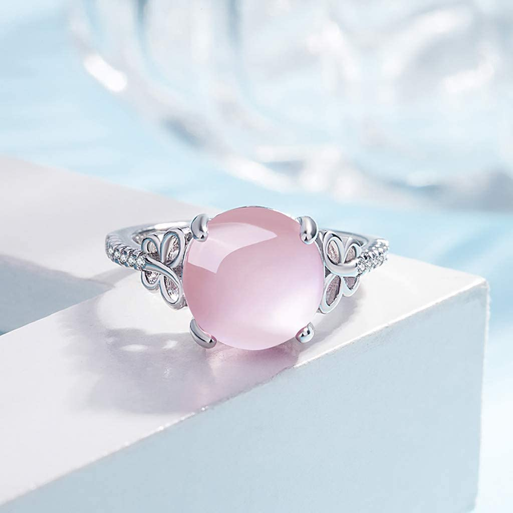 Nmch Women Hibiscus Stone Butterfly Rings Pink Crystal Adjustable Ring Diamond Finger Rings Jewelry Best Gift