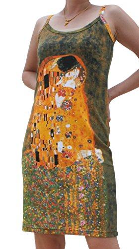 RaanPahMuang Gustav Klimt The Kiss Spaghetti Strap Dress, Medium
