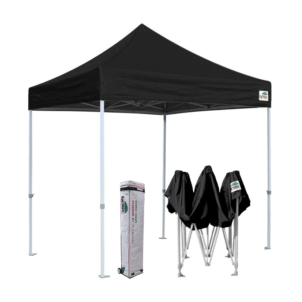 Eurmax 8x8 Feet Ez Pop up Canopy, Outdoor Canopies Instant Party Tent, Commercial Gazebo Bonus Roller Bag (Black) by Eurmax