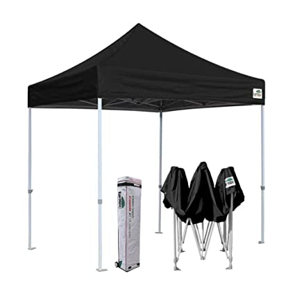 quality design c80eb ab845 Eurmax 8x8 Feet Ez Pop up Canopy, Outdoor Canopies Instant Party Tent,  Commercial Gazebo Bonus Roller Bag (Black)