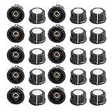 SuperWarehouse 25Pcs Ribbed Grip 6mm Shaft Potentiometer Control Rotary Knob Cap Black, swh772422ca224622