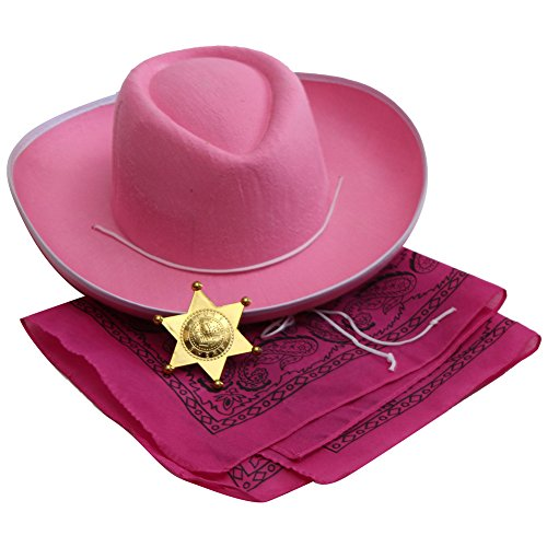[Pink Cowgirl Accessory Kit - Hat, Bandanna, Sheriff Badge] (Cowboy Dress Up Accessories)