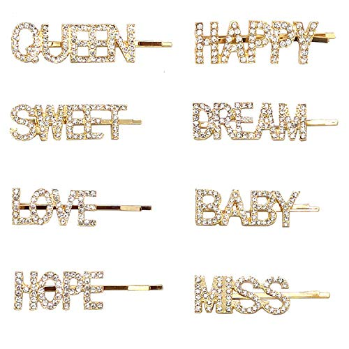 (8 pieces Rhinestone Letter Bobby Pin, Word Crystal Hair pin, Metal Hair Clips, Sparkly Hair Accessories for Women Ladies)