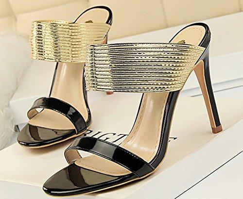 Mules Stiletto Soirée 10cm Noir Métallique Aisun Fille Sexy Femme qwZ4c0t
