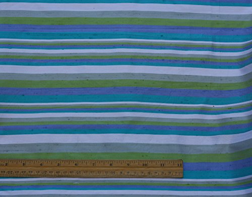 (Blue & Lime & White Dupioni Stripes, 100% Silk Fabric, By The Yard, 44
