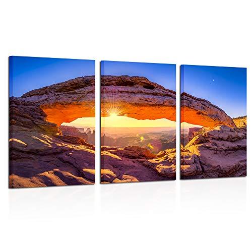 Kreative Arts - Sunrise at Mesa Arch in Canyonlands National Park Near Moab Utah USA Canvas Photography Print 3 Panel Art Frameless Canvas Print Wall Art Ready to Hang