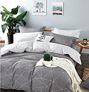 Minimal Style Geometric Shapes Duvet Quilt Cover Modern Scandinavian Design Bedding Set 100-percent Cotton Soft Casual Reversible Block Print Triangle Pattern (King, Light Grey)