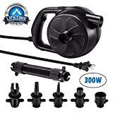 Lihebcen 300W High Pressure Electric Air Pump, with 5 Nozzles, Suitable for Air Mattresses, Pools, Air Sofas, Bathtub, Water Beds, Air Boat, Pool Toys and Swimming Ring