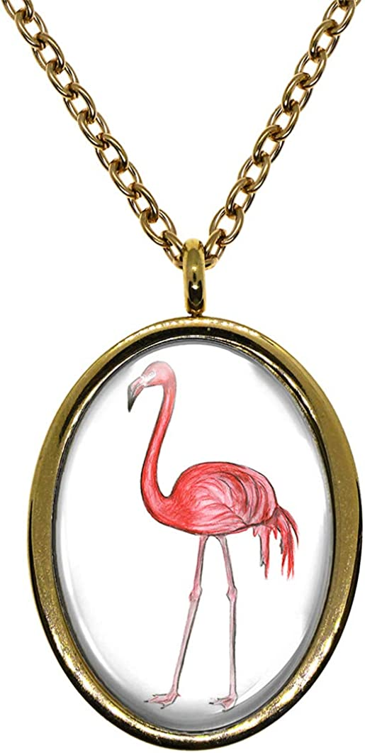 My Altar Pink Flamingo Gold Stainless Steel Pendant Necklace