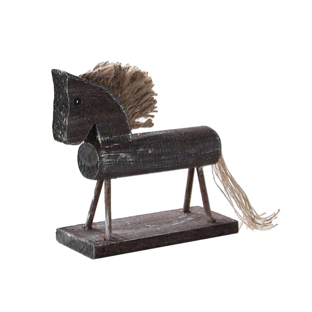 2Pc Handmade Wood Horse Statue Figurine Craft Ornament Home Office Decor
