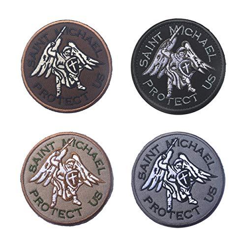 Guardian Angel St. Michael Protection Embroidery Tactical Military Patches Badges Stickers Hook Loop ()