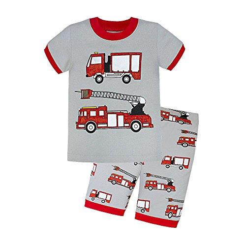 Dizoon Little Boys Fire Truck Short Sleeve Sleepwear Sets Gray Pajamas 2 Pieces T7