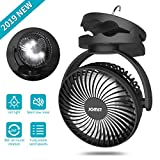 10. JOMST Portable Camping Fan LED Lantern, 4 Speeds Personal Silent Mini Desk Fan,USB Rechargeable 5000mAh Battery Operated Clip on Fan with Hook,Cooling Fan for Camping, Stroller, Office