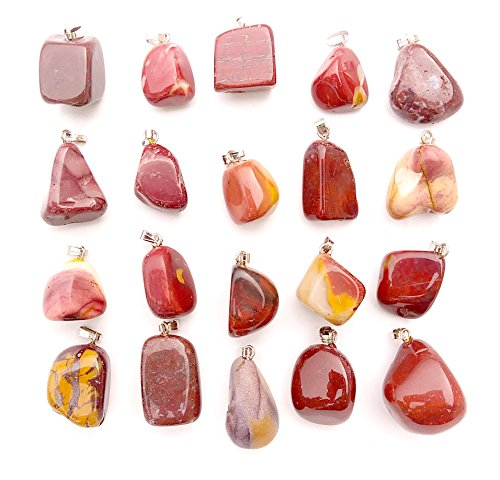 GemMaster 20 Piece Red and Yellow Mookaite Jasper Tumbled Stone Natural Gemstone Pendants (Mookaite Jasper)