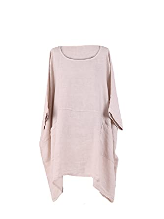 3ff12148eaa LushStyleUK New Ladies Italian Plus Size Plain Linen Tunic Top Women  Lagenlook Top Plus Size (