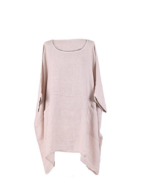 Ladies New Italian Lagenlook Batwing Plain Cotton Linen Tunic Top Plus Sizes