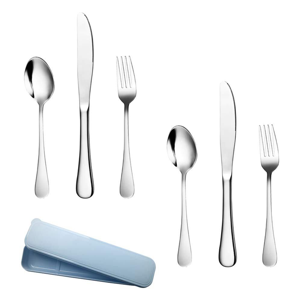 Silverware Set - 6 Piece Cutlery Set Serve for 2, Healthy Flatware Set Stainless Steel Utensils Mirror Polishing Forks Spoons Knives Set, Dishwasher Safe and Easy Washing