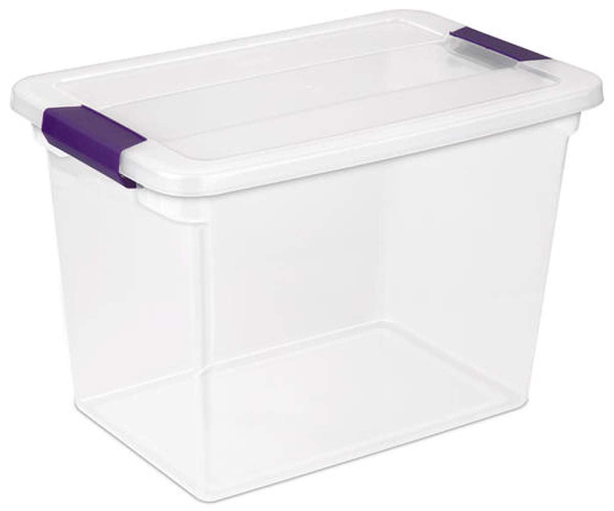 2 Pack of 27 Quart Clear Base and Lid with Plum latches Storage Bin | Storage Tote Box, by Home World