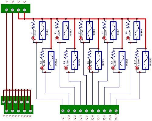 Electronics-Salon Panel Mount 10 Position Power Distribution Fuse Module Board, For AC110V . by Electronics-Salon (Image #3)