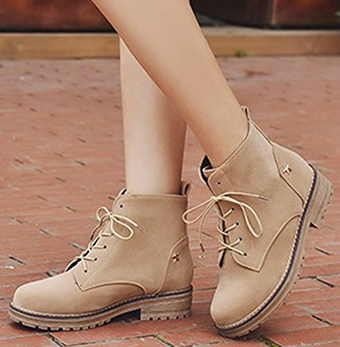 IDIFU Womens Vintage Low Chunky Heels Martin Boots Faux Suede Lace Up Short Ankle Booties Beige BBZsRz
