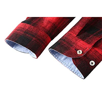 Men's Flannel Long Sleeve Plaid Button Down Western Shirts