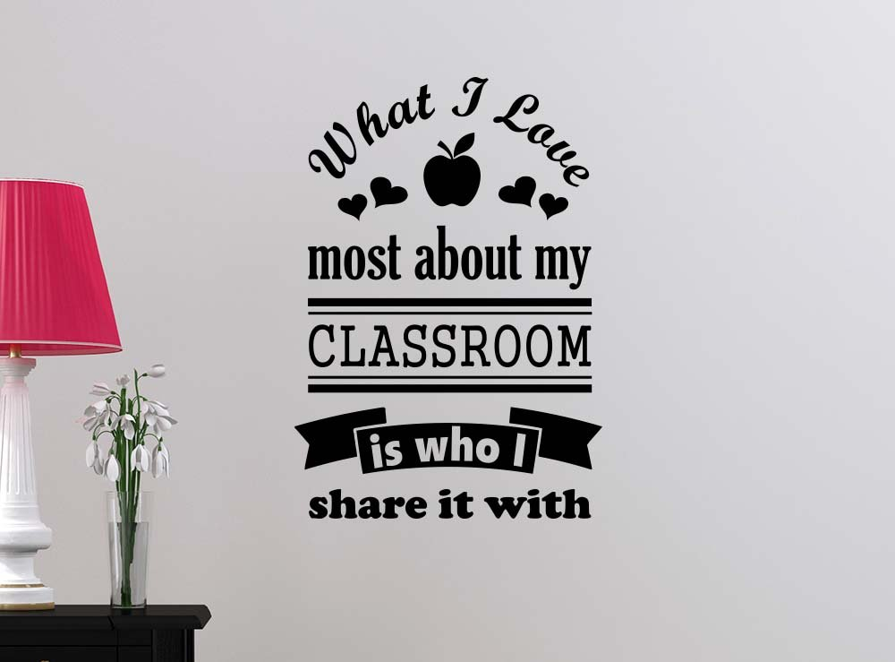 What I love most about my classroom is who I share it with vinyl school art student saying lettering motivational inspirational sign wall room decor