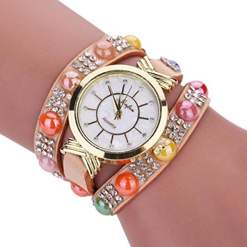 - Hunputa Fashion Multi-round Band Womens Quartz Watch Crystal Diamond Wrist Watch Gift (Brown)