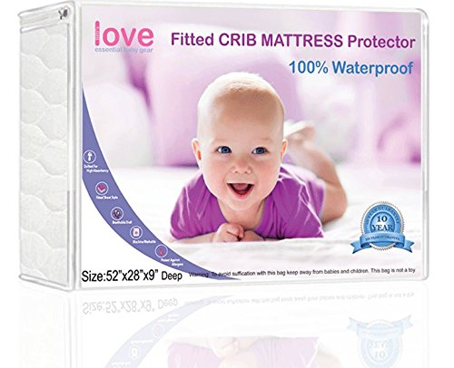 Lilly'sLove Waterproof Crib Mattress Pad Regular Washing, Easily Removed with Sewn in Elastic for Faster Cleanups Crib Mattress Cover Lilly' s Love LLCRMAT
