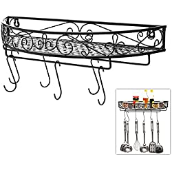 Scrollwork Design Wall Mounted Black Metal Pot Hanger / Cooking Utensils Rack / Kitchen Shelf - MyGift®