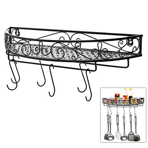 Scrollwork Design Wall Mounted Black Metal Pot Hanger / Cooking Utensils Rack / Kitchen Shelf - MyGift by MyGift
