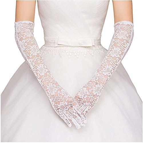 Floral Lace Gloves - Womens Lace Floral Elbow Length Tulle Bridal Gloves for Dress Driving Wedding