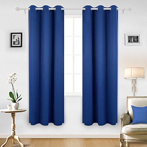 Deconovo Room Darkening Thermal Insulated Blackout Grommet Window Curtain  Panel For Bedroom, Royal Blue,42x84 Inch,1 Panel