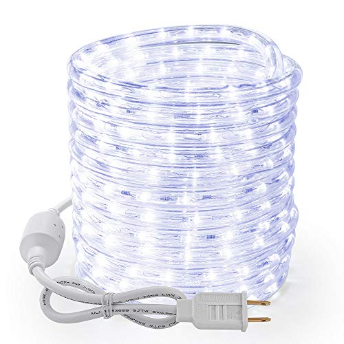 Brizled 18ft 216 LED Rope Lights, 120V UL Listed Plugin Rope Lights Connectable Daylight White Indoor Outdoor Rope Lights Flexible LED Tube Lights for Holiday, Garden, Yard, Corridor and Patio Decor (Led Lights Holiday Living)
