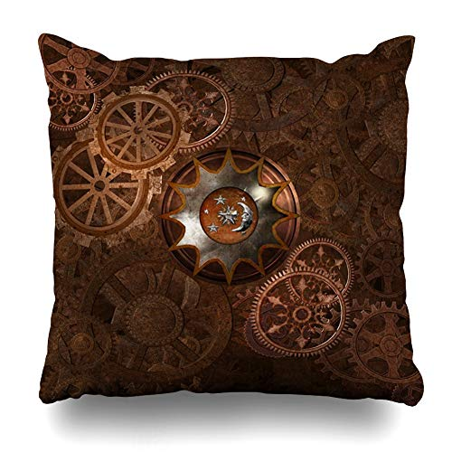 Ahawoso Throw Pillow Cover Render Ancient Steampunk Rusty Vintage Bronze Century Clock Clockwork Gears Design Steam Home Decor Cushion Case Square Size 18 x 18 Inches Zippered Pillowcase