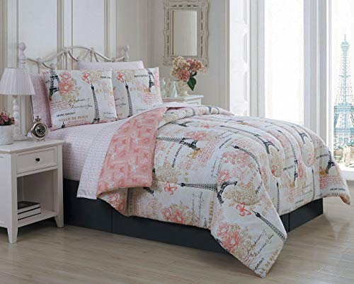 Avondale Manor Amour 8-Piece Comforter Set, King, Pink -