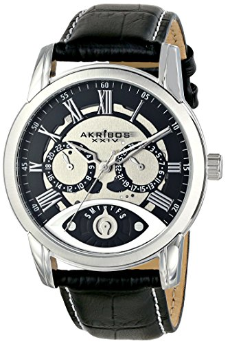 - Akribos XXIV Men's AK725 Quartz Movement Watch with Colored Dial and Cognac with White Stitching Leather Calfskin Strap (Silver/Black)