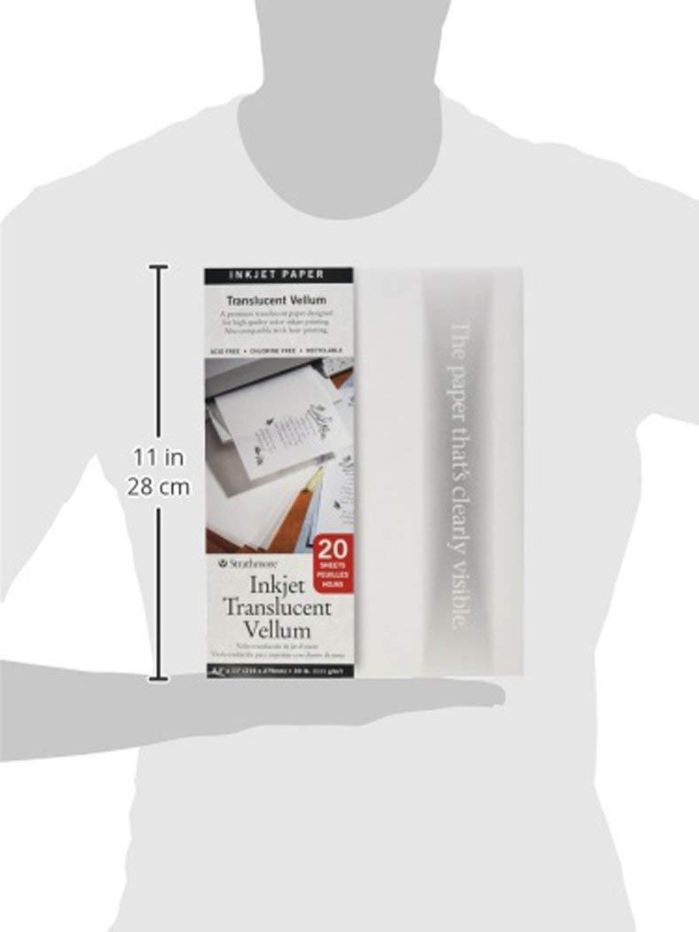 4-Pack 20 Sheets 8.5x11 Strathmore 59-803 Translucent Vellum Inkjet Paper