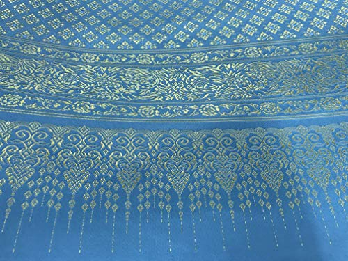 Amornphan 44 Inches Traditional Thai Silk Damask Fabric for Wedding Dress Skirt Turquoise Blue and Gold by The Yard (Silk Thai Wedding Dress)