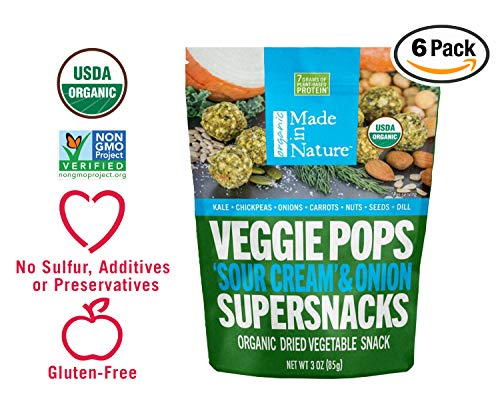 Made in Nature Organic Veggie Pops - 'Sour Cream' & Onion 3oz (pack of 6) - Non-GMO Vegan Veggie Snack