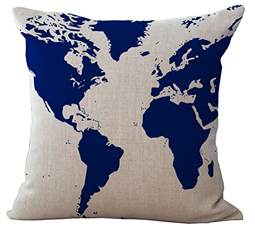 World Linen Pattern - World Map Printed Cushion Cover LivebyCare Linen Cotton Cover Throw Pillow Case Sham Pattern Zipper Pillowslip Pillowcase For Home Sofa Couch Chair Back Seat