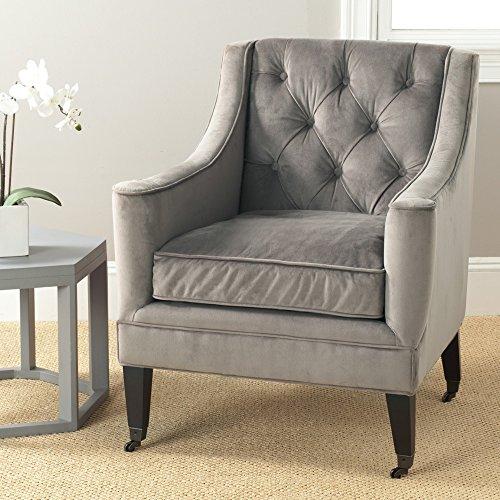 Safavieh Mercer Collection Sherman Arm Chair, Mushroom - Club Chair Casters