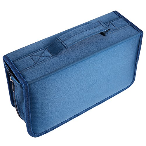 Laishalaiku 128 Capacity CD DVD Case Wallet Nylon Disc Storage Bag Holder for Car, Home, Travel, Office and more, Black/Blue/Gray 11.2