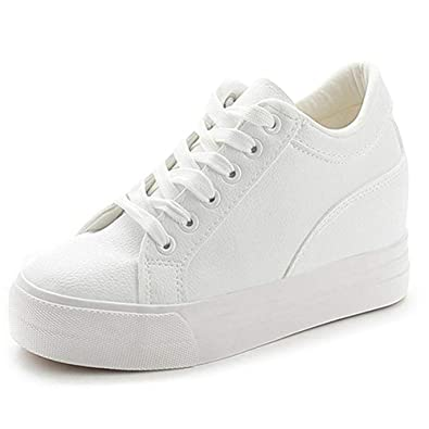 db496b38bf Amazon.com | Buganda Women Fashion Leather Sneakers Casual Lace up White  Black Flat Shoes High Top Hidden Heel Wedges Platform Shoes | Fashion  Sneakers