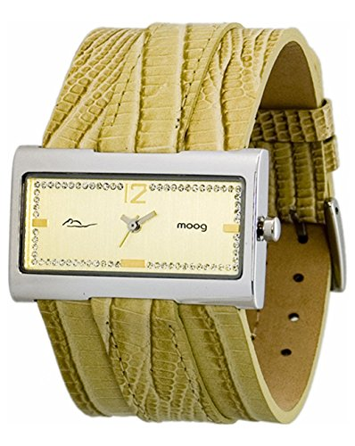 Moog Paris - Miroir - Women's Watch with gold dial, beige strap in Genuine calf leather, made in France - M41491-007