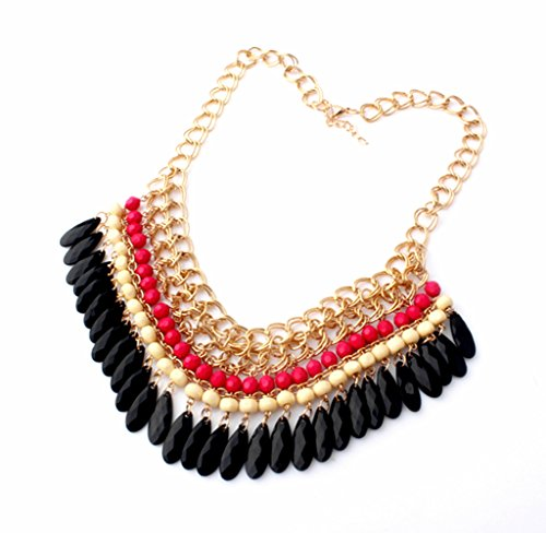 Bohemian Layered Round Bead Dangling Drops Statement Necklace - Pink Beads