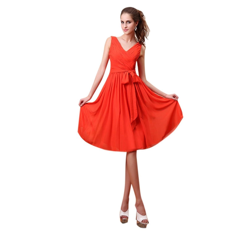Dearta Women's A-Line V-Neck Knee-Length Chiffon Evening Dresses