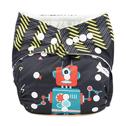 Hi Sprout Baby Reusable Absorbent Positioning Digital Printing Cloth Pocket Diapers, Robot